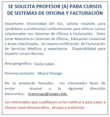 SE SOLICITA PROFESOR(A) PARA OFRECER CURSOS RELACIONADOS CON SISTEMAS DE OFICINA Y FACTURACION